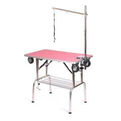Pedigroom Grooming Table With Wheels Pink