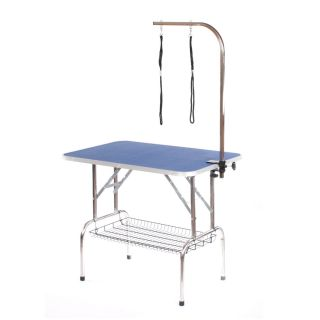 Pedigroom Large Staineless Steel Portable Dog Grooming Table Blue