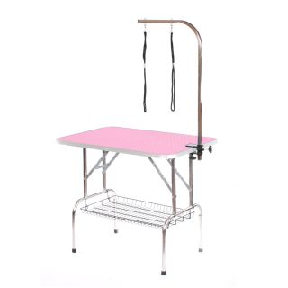 Pedigroom Large Staineless Steel Portable Dog Grooming Table Pink