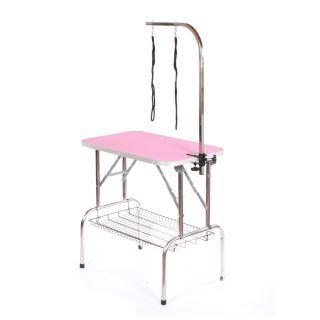 Pedigroom Medium Staineless Steel Portable Dog Grooming Table Pink